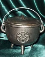 Cast Iron Cauldrons - engraved Magickal symbols & plain