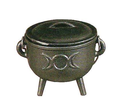 Cast Iron Triple Moon Cauldron With Lid Medium